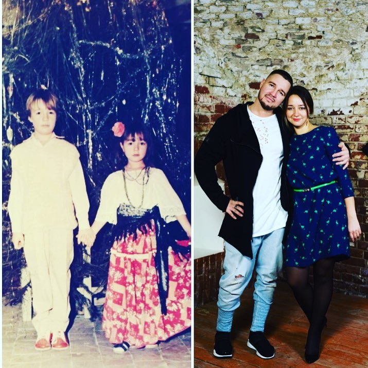 Денис Розыскул с сестрой в детстве и сейчас